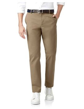 Tan Flat Front Soft Washed Chinos by Charles Tyrwhitt