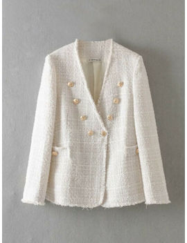 White Tweed Blazer Gold Button Blazer Jacket Women Frayed Tweed Jacket Coat by Ebay Seller