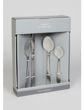 16 Piece Hammered Cutlery Set by Matalan