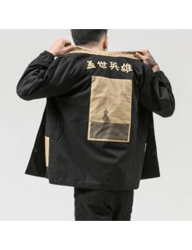 Autumn Hero Kanji Japanese Street Cotton Jacket Black Red Hip Hop Coat Us Size Xs Xxl by Ali Express.Com