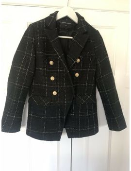 Drole De Copine   Black Tweed Style Check Fouble Breasted Blazer Jacket (Size M) by Ebay Seller