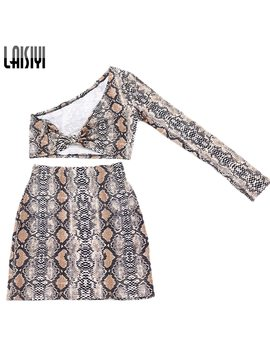Laisiyi Fashion Two Piece Set Summer One Shoulder Crop Top High Waist Pencil Skirts Sexy Club Printed Women Suits Assu20091 by Ali Express.Com