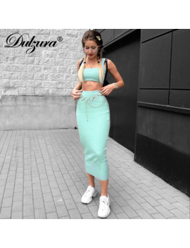 Women Ribbed Knit Two Piece Set Long Skirt Crop Tank Top Sexy Elegant Festival Matching Co Ord Clothes Party 2019 Summer Outfits by Ali Express.Com