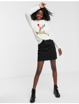 Brave Soul Fluffy Christmas Jumper With Sequin Reindeer by Asos