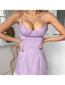 Wanna This Spaghetti Straps V Neck Silk Satin High Waist Dress 2019 Summer Backless Elegant Sexy Casual Party Club Dresses by Ali Express.Com