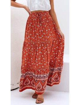 Peasant Maxi Skirt   Rust by Billy J.