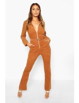 Zip Through Slim Fit Cord Flare Jumpsuit by Boohoo