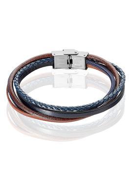 Bracelet Acier Tresse Syntetique Cuir by Histoire D'or