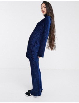 Weekday Ada Velvet Pants In Midnight Blue by Weekday