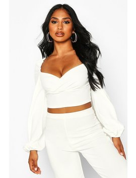 Crepe Wrap Long Sleeve Crop Top by Boohoo