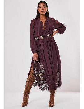 Burgundy Chiffon Lace Trim Midi Dress by Missguided