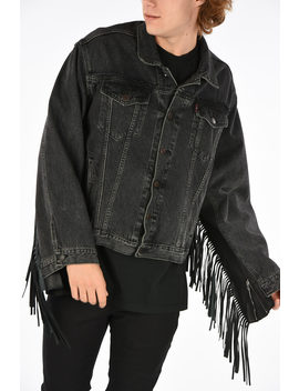 Levi Strauss Denim Jacket With Leather Fringe by Vetements