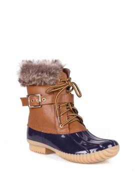 Nature Breeze Faux Shearling Lace Up Women's Duck Boots In Blue Tan by Nature Breeze