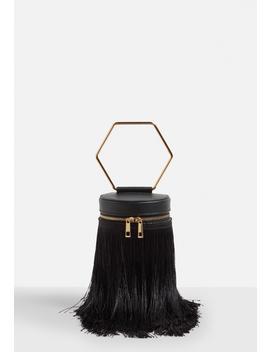 Black Fringe Hexagon Handle Handbag by Missguided