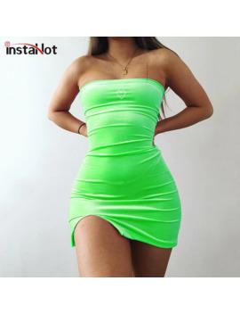 Insta Hot Off The Shoulder Trim Slit Hem Tube Dress Velvet Green Black Women Sleeveless Bodycon Strapless Sexy Party Mini Dress by Ali Express.Com
