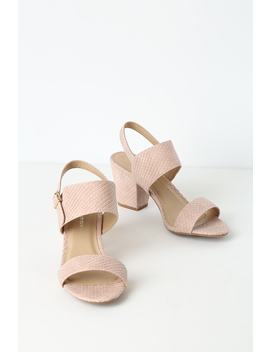 Spot On Blush Snake Embossed High Heel Sandals by Cl By Laundry