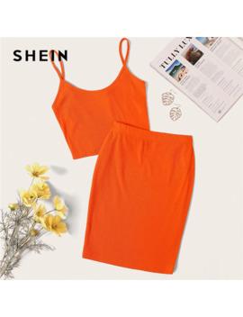 Shein Neon Rib Knit Crop Cami Top And Skinny Skirt Set Sexy Solid Sleeveless 2 Piece Set Spaghetti Strap Women Set by Ali Express.Com
