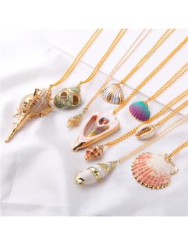 2019 Boho Conch Shell Necklace Shell Gold Shell Chain Necklace Women Seashell Choker Necklace Pendants Jewelry Bohemian Female by Ali Express.Com