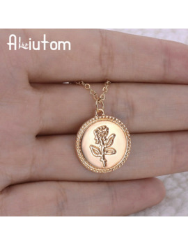 Gold Alloy Round Pendant Necklace For Women Simple Female Long Chain Coin Necklace Rose Fashion Necklace A Direct Sale by Ali Express.Com