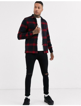 Asos Design Regular Check Overshirt In Navy by Asos Design