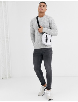 Superdry Jacob Crew Neck Cable Knit Sweater In Light Gray by Superdry