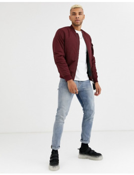 Pull&Bear Padded Bomber Jacket In Burgundy by Pull&Bear