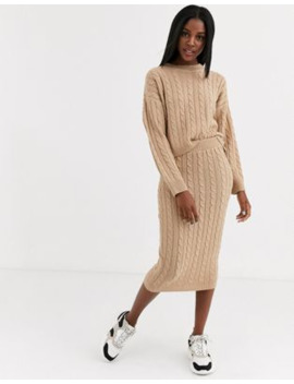 Brave Soul Cable Knit Co Ord In Biscuit by Asos
