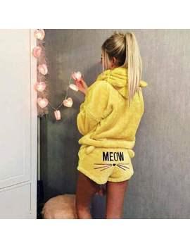Womens Fluffy Fleece 2pcs Hoodies Shorts Set Lounge Wear Winter Pajama Nightwear by Ebay Seller