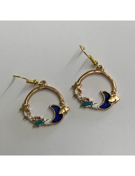Gold Tone Blue Moon And Cloud  Dangle Earrings by Depop