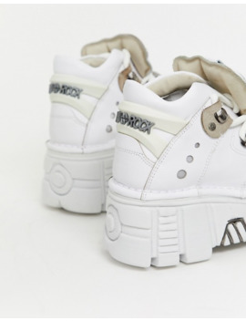 New Rock Chunky Leather Lace Up Sneakers In White by New Rock