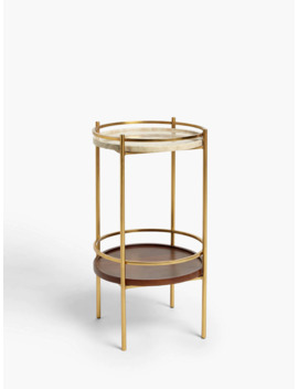 John Lewis & Partners + Swoon Raine Marble Side Table, Gold by Swoon
