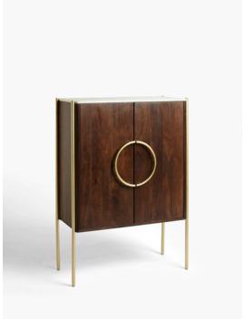 John Lewis & Partners + Swoon Raine Marble Drinks Cabinet, Dark Brown by Swoon
