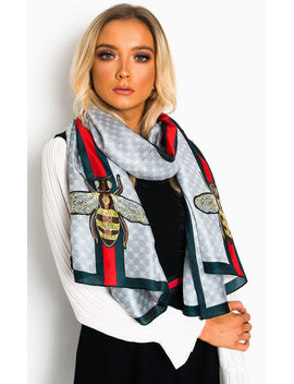 Sehar Silky Printed Scarf In Silver by Ikrush