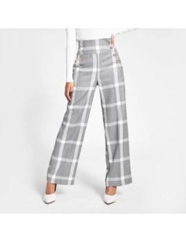 Pantalon Large Gris Avec Boutons by River Island