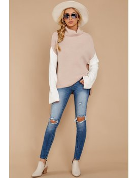 Set The Tone Beige And Ivory Cowl Neck Sweater by Miracle
