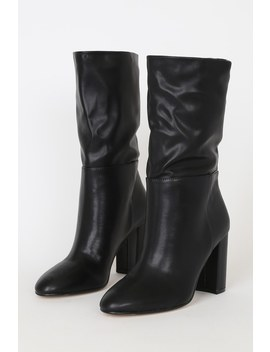 Keep Up Black Mid Calf High Heel Boots by Chinese Laundry