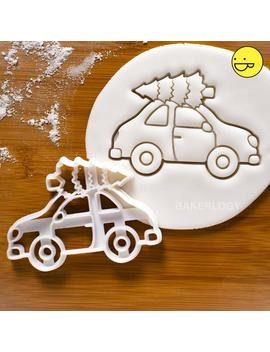 Christmas Tree On Car Cookie Cutter | Bakerlogy Cutters Santa Claus Xmas Party Winter Transport Festival Festive Celebration Pine Yule Tree by Etsy