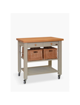 Eddingtons Lambourn 2 Drawer Beech Wood Butcher's Trolley, Grey by Eddingtons