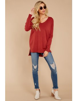 Wind Down Heather Red Sweater by So Soft Collection