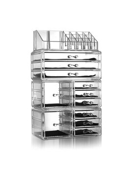 Makeup Organizer Case, Wrch3486 Luxury Makeup Organizer Travel Case, 4 Drawers Integrated Acrylic Makeup Case Cosmetics Organizer Transparent by Pabby Yard
