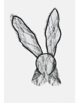Black Halloween Long Lace Bunny Ears by Missguided
