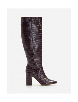 Over The Knee Boots With Croc Motif by Reserved