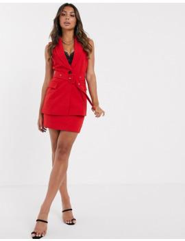 Asos Design Pop Sleeveless Belted Suit Blazer by Asos Design