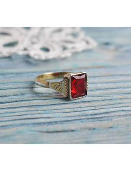 Vintage Ussr Era 875 Silver Ring With Red Rhinestone. Ukraine. Lviv Jewelry Factory. by Etsy
