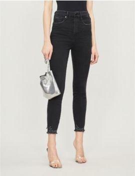 Good Legs Cropped Raw Hem Straight Leg High Rise Jeans by Good American