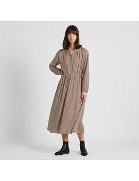 women-v-neck-long-sleeved-maxi-shirt-dress-(1) by uniqlo