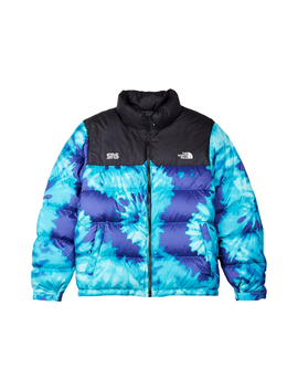 The North Face Sns Nuptse Jacket Scuba Blue Tie Dye by Stock X