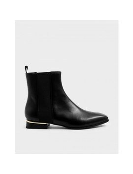 Metal Accent Heel Chelsea Boots by Charles & Keith