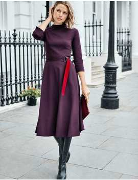 Nerissa Ponte Dress   Navy/Beetroot by Boden