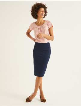 Hampshire Ponte Skirt   Navy by Boden